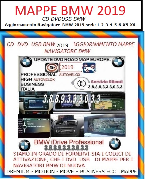 DVD GPS BMW 2019 MK4 High Road Map navigazione europa