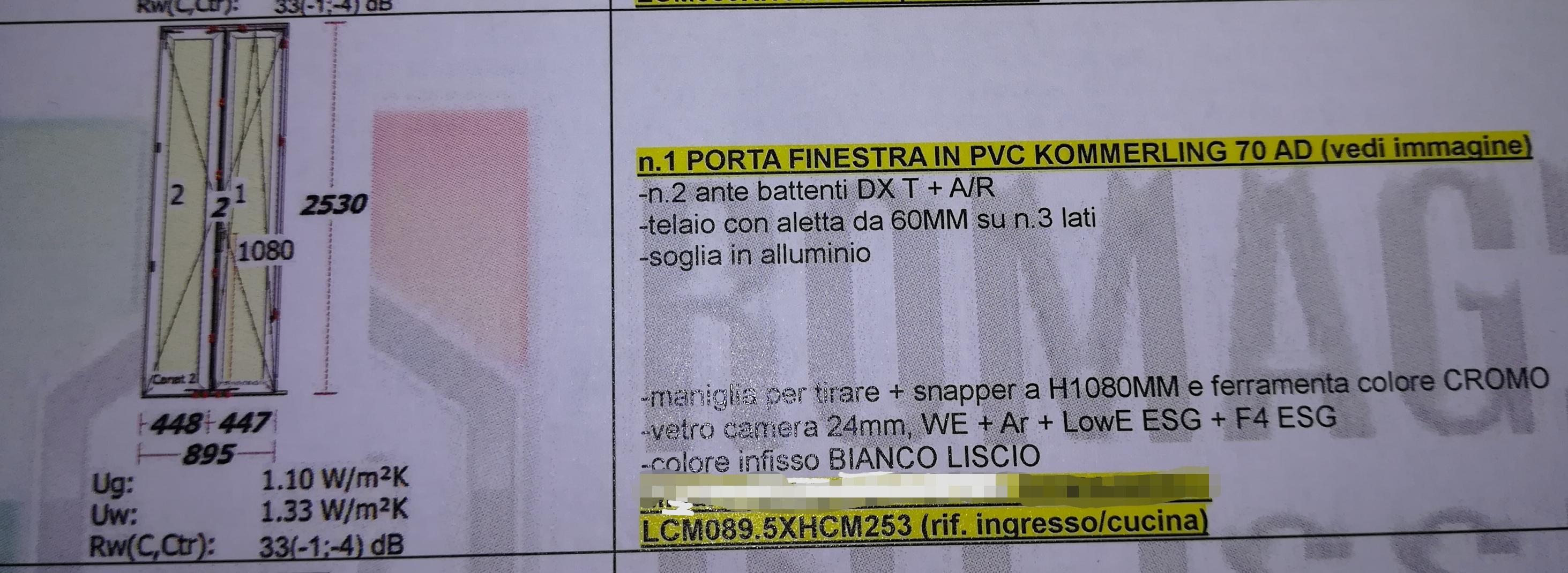 Portafinestra e persiana misure 895x2530