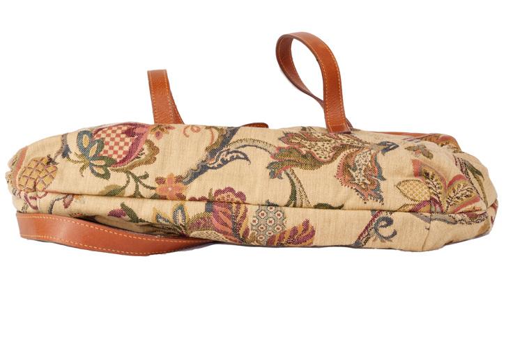 borsa donna furla in stoffa tipo arazzo e pelle vera