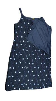 Abito donna in cotone blu con paillette e specchietti